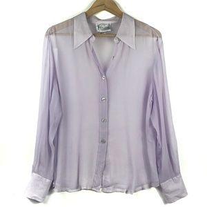 Diane Von Furstenberg Silk Sheer Button Down shirt